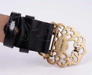 Genuine Cowskin Belt With Floral Curved Buckle - GiftWorldStyle - Luxury Jewelry and Accessories