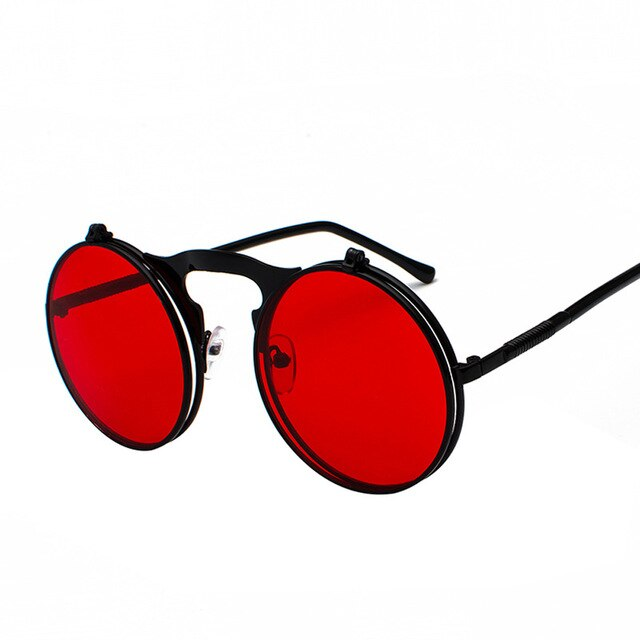 Vintage Steampunk Flip Up Sunglasses With Round Frame, Legs UV400 - GiftWorldStyle - Luxury Jewelry and Accessories