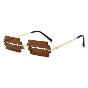 Women's Rimless Sunglasses With Unique Razor Blade,UV400 - GiftWorldStyle - Luxury Jewelry and Accessories