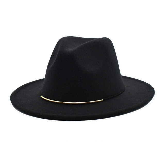 Wool Fedoras Hat With Wide Brim - GiftWorldStyle - Luxury Jewelry and Accessories