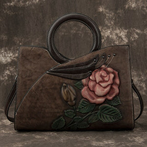 Elegant Cow Leather Bag With Round Handle And Embroidery - GiftWorldStyle - Luxury Jewelry and Accessories