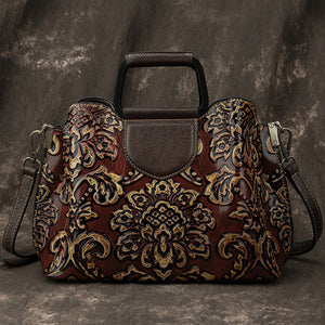 Ladies Retro Shoulder Bag With Leather Handle And Flowers