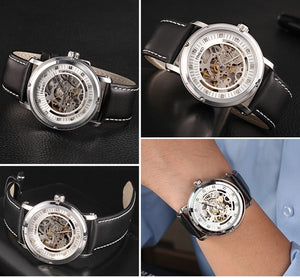 Men's Mechanical Watch With Leather Strap And Crystal Marks, 3Bar - GiftWorldStyle - Luxury Jewelry and Accessories
