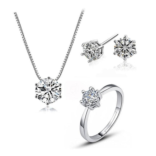 Dazzling 6 Claws Zircon Jewelry Sets - 925 Stamp Silver