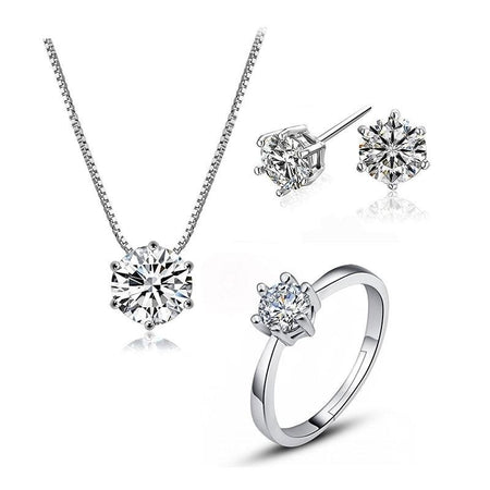 Dazzling 6 Claws Zircon Jewelry Sets - 925 Stamp Silver - GiftWorldStyle - Luxury Jewelry and Accessories