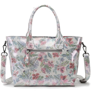 Real Leather Handbag For Women With Shiny Summer Flowers - GiftWorldStyle - Luxury Jewelry and Accessories