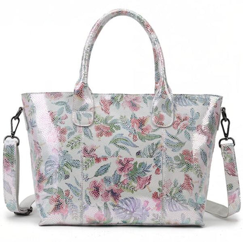 Real Leather Handbag For Women With Shiny Summer Flowers