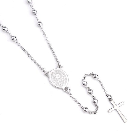 Stainless Steel Necklace With Virgin Mary Prayer
