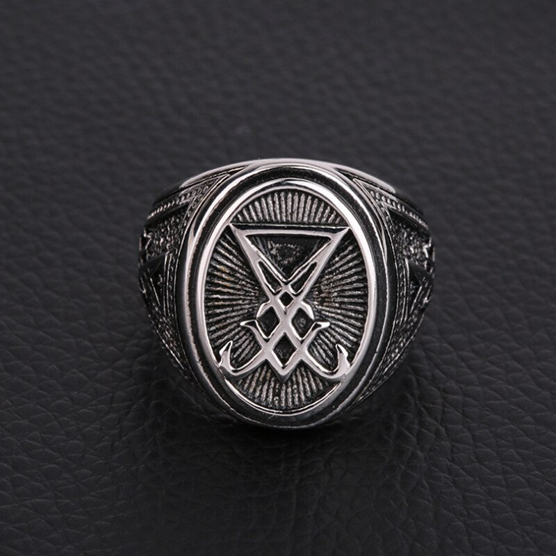 Stainless Steel Gothic Ring Seal of Lucifer 316L, Satan