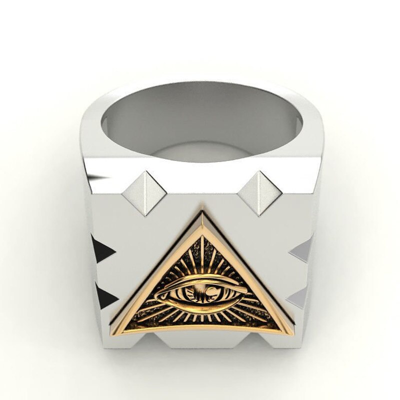 Men's Carbide Masonic Ring With Sun Devil Eyes