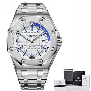 Stainless Steel Quartz Watch With Complete Calendar And Luminous Dial - GiftWorldStyle - Luxury Jewelry and Accessories
