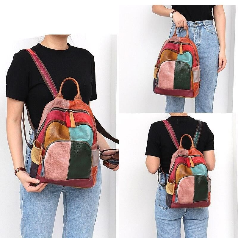Colorful Patchwork Leather Backpack With Zippers