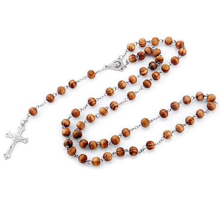 8mm Religious Pine Wood Rosary With Alloy Cross