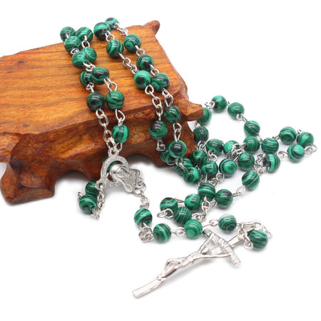 Green Stone Cross Rosary Necklace Women Catholic Jewelry