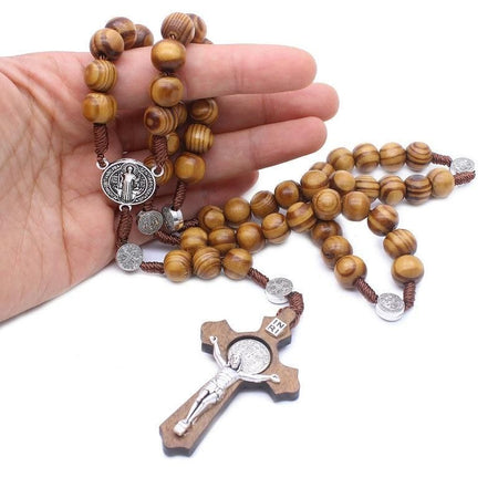 10mm Rosary Christ Wooden Beads With Christ Pendant
