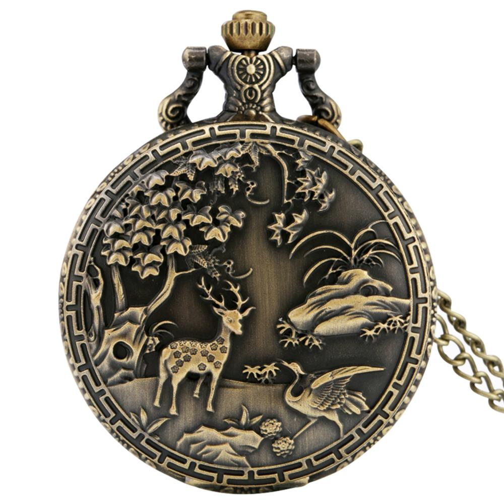 Steampunk Quartz Pocket Watch With Elk Cranes Design - GiftWorldStyle - Luxury Jewelry and Accessories
