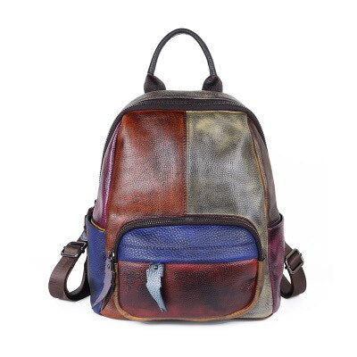 Cowhide Retro Backpack In Colorful Worn Skin, Interior Slot Pocket