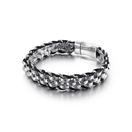 Link Chain Bracelet - Stainless Steel & Leather Rope - GiftWorldStyle - Luxury Jewelry and Accessories