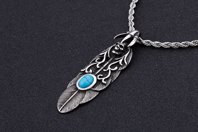 Punk Feather Skull Necklace With Blue Stone - GiftWorldStyle - Luxury Jewelry and Accessories