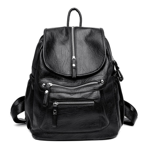 Women's Soft Leather Backpack With Interior Zipper Pocket, Phone Pocket