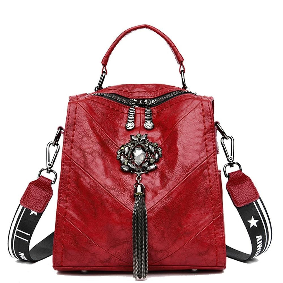Small Wrinkled Leather Women Backpack With Buckle And Tassel - GiftWorldStyle - Luxury Jewelry and Accessories