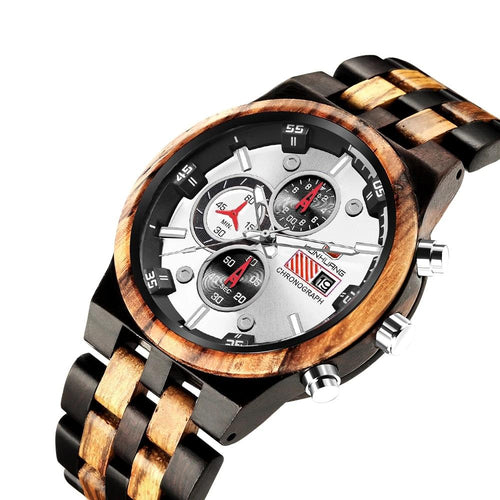 Men's Quartz Wooden Watches With Chronograph,Leather Deployment Bucket