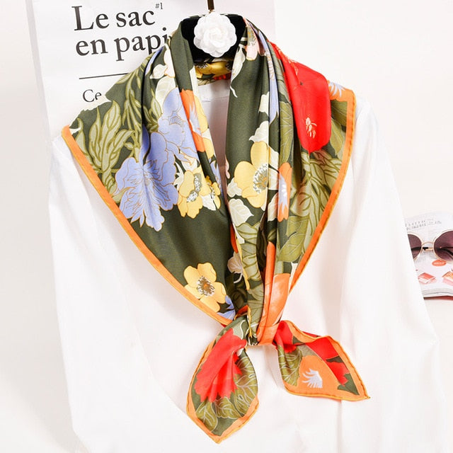 Pure Silk Square Scarves For Women With Floral Print,Shiny - GiftWorldStyle - Luxury Jewelry and Accessories
