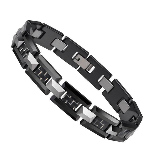 Black Ceramic and Tungsten H Style Link Bracelet