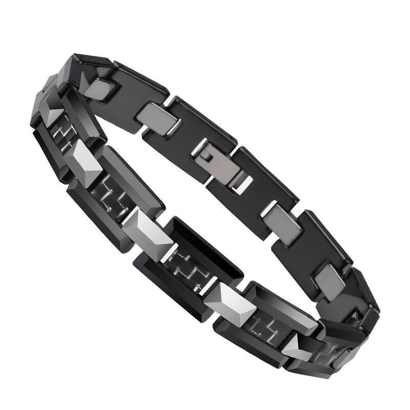 Black Ceramic and Tungsten H Style Link Bracelet - GiftWorldStyle - Luxury Jewelry and Accessories