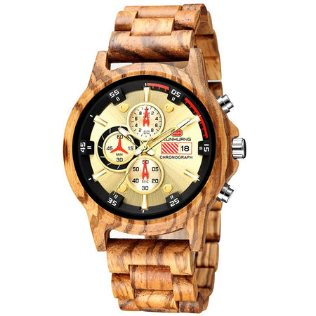 Luxury Quartz Wooden Watch With Calendar And Chronograph