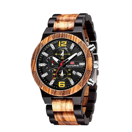 Wooden Men Watches With Luminous Hands,Chronograph