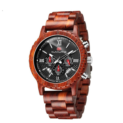 Quartz Wood Watch With Chronograph And Luminous Clock Hand
