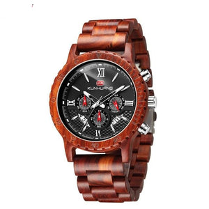 Quartz Wood Watch With Chronograph And Luminous Clock Hand - GiftWorldStyle - Luxury Jewelry and Accessories