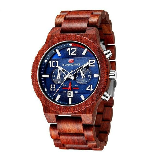 Luminous Quartz Wooden Watch And Complete Calendar