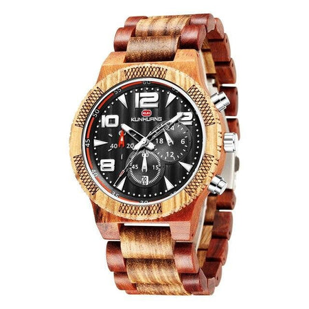 Quartz Wood Watche With Push Button Hidden Clasp,Luminous Hands