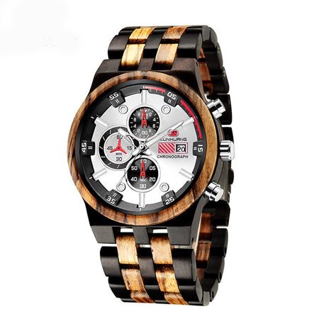 Wood Men Watch With Luminous Hands,Calendar And Chronograph