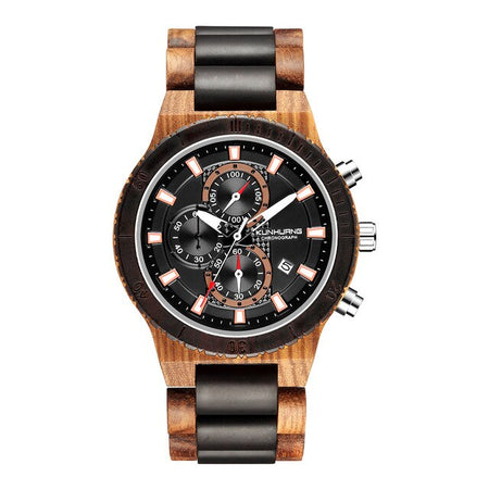 Wooden Watch With Stylish Luminous Hand And Push Button Hidden Clasp