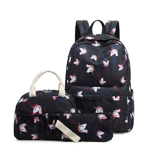 3 Pcs Waterproof Backpack For School With Unicorn Print - GiftWorldStyle - Luxury Jewelry and Accessories