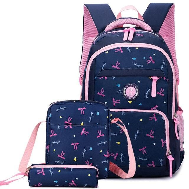 3pcs/set School Backpack With Ribbon Print, Pencil Case - GiftWorldStyle - Luxury Jewelry and Accessories