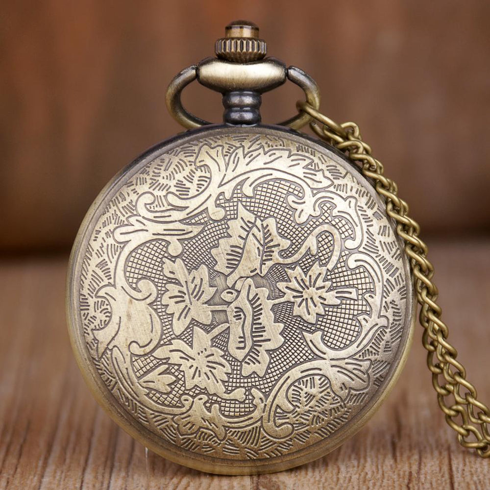 Quartz Pocket Watch With Chain,Beautiful Hollow Flower - GiftWorldStyle - Luxury Jewelry and Accessories