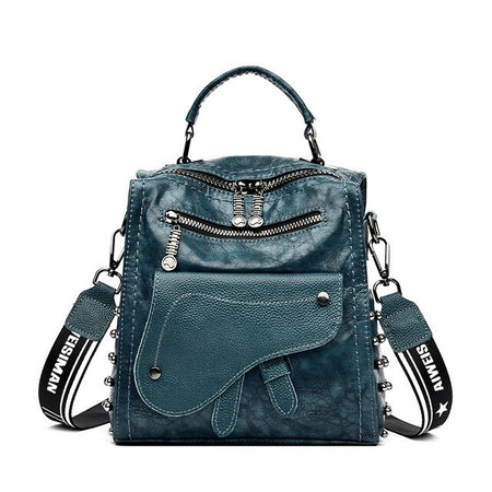 Small Women Backpack With Soft Leather, Covered Pocket And Two Handle