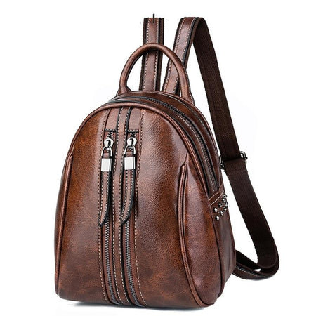 Mini Leather Backpack With Soft Handle And Two Zipper, Rivet