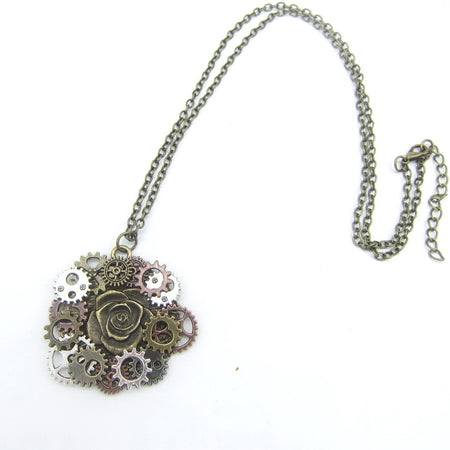 Steampunk Rose Necklace With Antique DIY Gears Around - GiftWorldStyle - Luxury Jewelry and Accessories