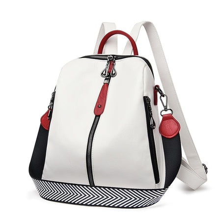 Soft Leather Backpack With Colorful Handle And Two Big Zipper