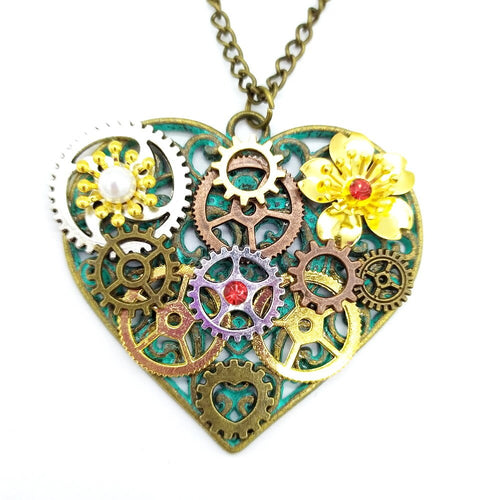 Vintage Steampunk Necklace For Women With Metal Flowers and Varied Gears