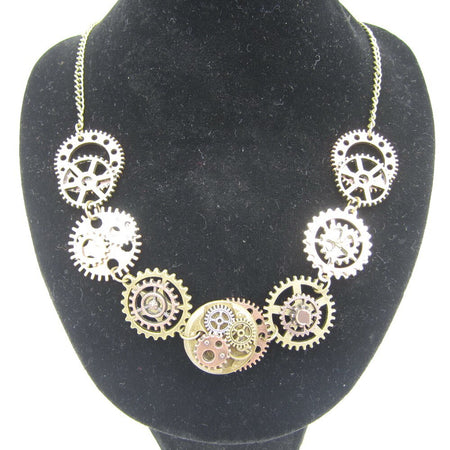 Women`s Steampunk Necklace With Various Gears Matched