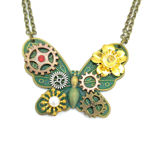 Green Ox Butterfly Steampunk Necklace With Multi Gears and Flowers