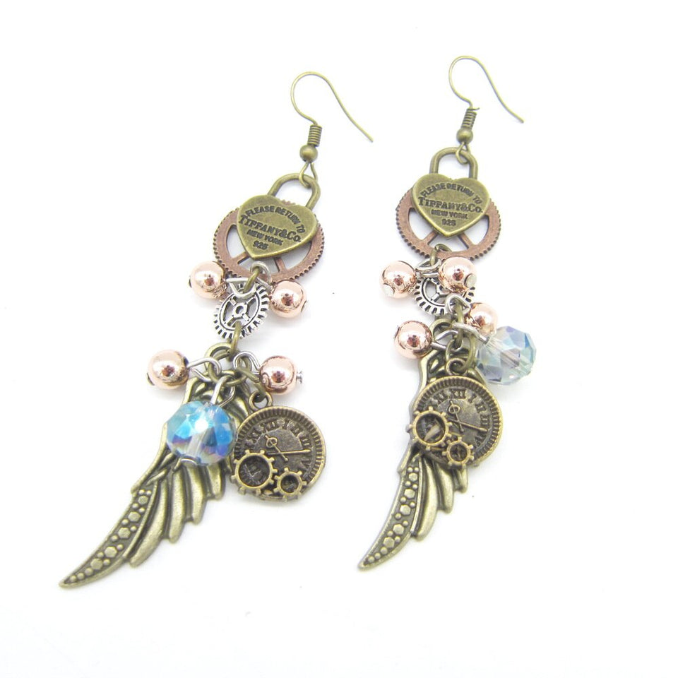 Vintage Steampunk Women Earrings With Heart Lock and Clock Wing - GiftWorldStyle - Luxury Jewelry and Accessories