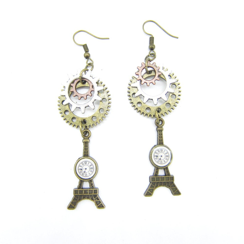 Steampunk Women Earrings With Circle Gears and Eiffel Tower Drop - GiftWorldStyle - Luxury Jewelry and Accessories