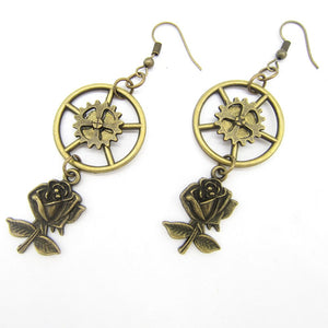 Women's Steampunk Drop Earring With Vintage Rose Charms - GiftWorldStyle - Luxury Jewelry and Accessories